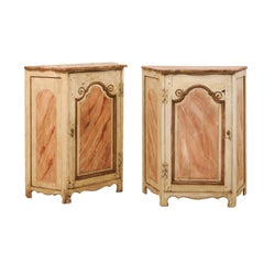 Pair of Italian Early 20th Century Small Painted Wood Commodini with Faux Marble