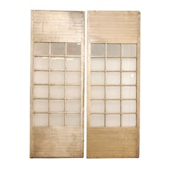 Pair of Tall Grand Scale French Doors of Painted Wood and Glass