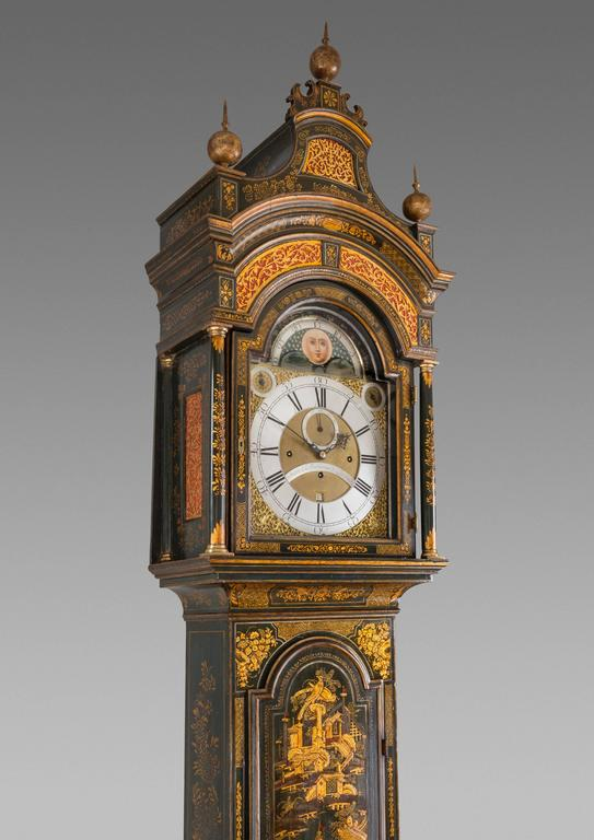 English George III Lacquered Longcase Clock by John Monkhouse, London For Sale