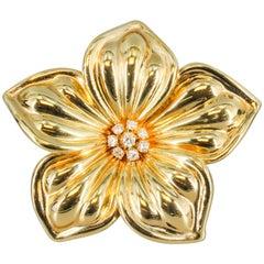 Van Cleef & Arpels Diamond and Gold Flower Brooch