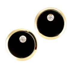 1960s Black Onyx Diamond Gold Cufflinks