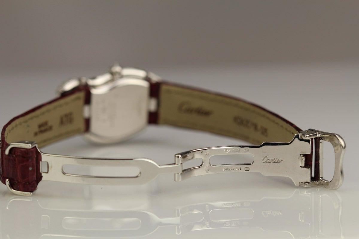 Men's Cartier White Gold Diamond Crash Wristwatch Circa 2000s For Sale