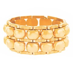Chunky Art Deco Machine Age Gold Bracelet