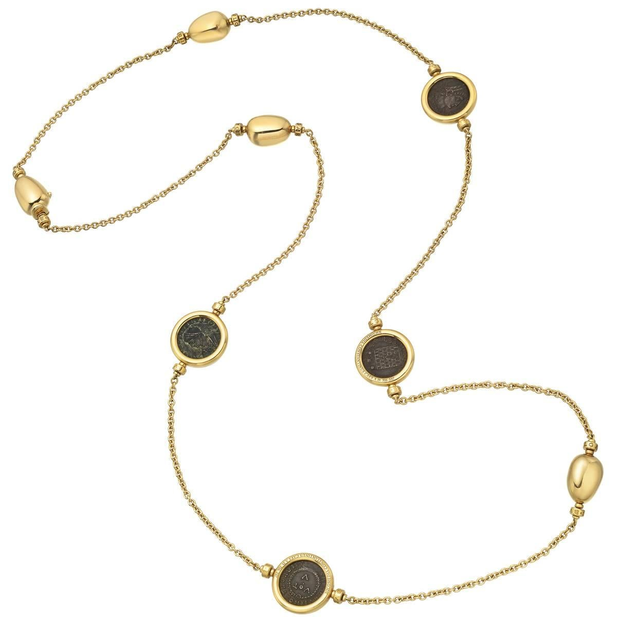 bulgari gold ancient coin long necklace for at 1stdibs ancient bronze coin bulgari monete necklace