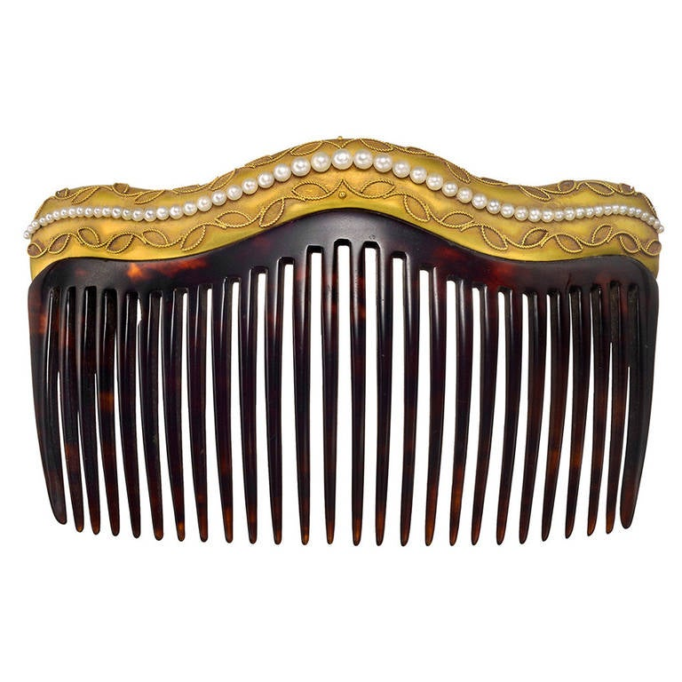 Rare antique japanese tortoise shell  coral hair comb