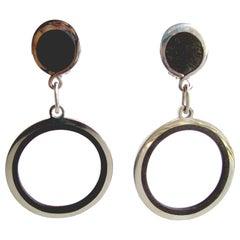Jose Maria Puig Doria Sterling Wood Hoop Earrings
