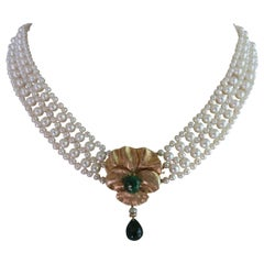 Marina J. Unique Woven Pearl Necklace with Emeralds & 14K Yellow Gold Clasp