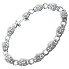 Cushion Diamond Pave Platinum Link Bracelet