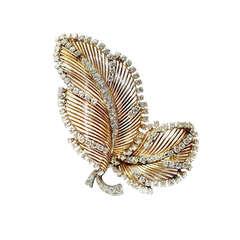 Mauboussin Leaf Brooch Gold and Diamonds