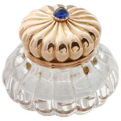 Faberge Rock Crystal Gold Inkwell