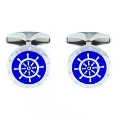 Jona Sterling Silver Blue Enamel Boat Wheel Cufflinks