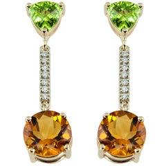 Peridot Citrine Diamond Gold Drop Earrings Estate Fine Jewelry