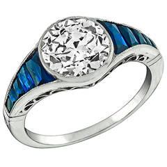 2.16 Carat Diamond Sapphire Platinum Engagement Ring