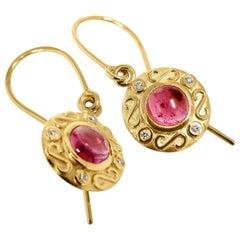 Kian Design 18 Carat Yellow Gold Tourmaline and Diamond Earrings