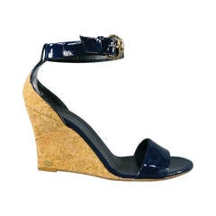 GUCCI Size 9.5 Navy Patent Leather Strappy Wedges
