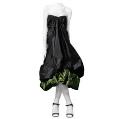Alexander McQueen 2007 Black & Petrol Green Bustier Silk Evening Dress NWT
