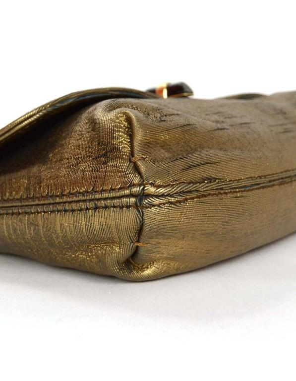 Lanvin Gold Metallic Leather Distressed Happy Shouler Bag Rt