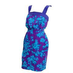Vintage Yves Saint Laurent 2 pc dress Floral Cotton Skirt Top Outfit YSL Size 38