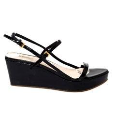 Black Patent Leather Miu Miu Sandals Platform Wedge Shoes Size 38