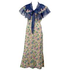 Rare 1930s Vintage Chanel Adaptation Dress Floral Velvet Applique Silk Organza