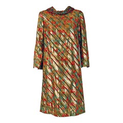 1960's Branell Beaded Colorful Metallic Lame Belted Long-Sleeve Cocktail Dress