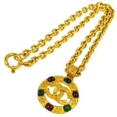Chanel Vintage Rare Multi Gripoix Gold Coin Charm Evening Drape Necklace in Box