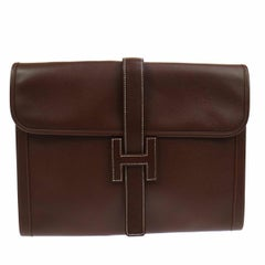 Hermes Like New Chocolate Leather Stitch H Envelope Evening Clutch Flap Bag