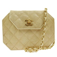 Chanel Nude Lizard Exotic Party Octagon 2 in 1 Clutch Evening Shoulder Bag