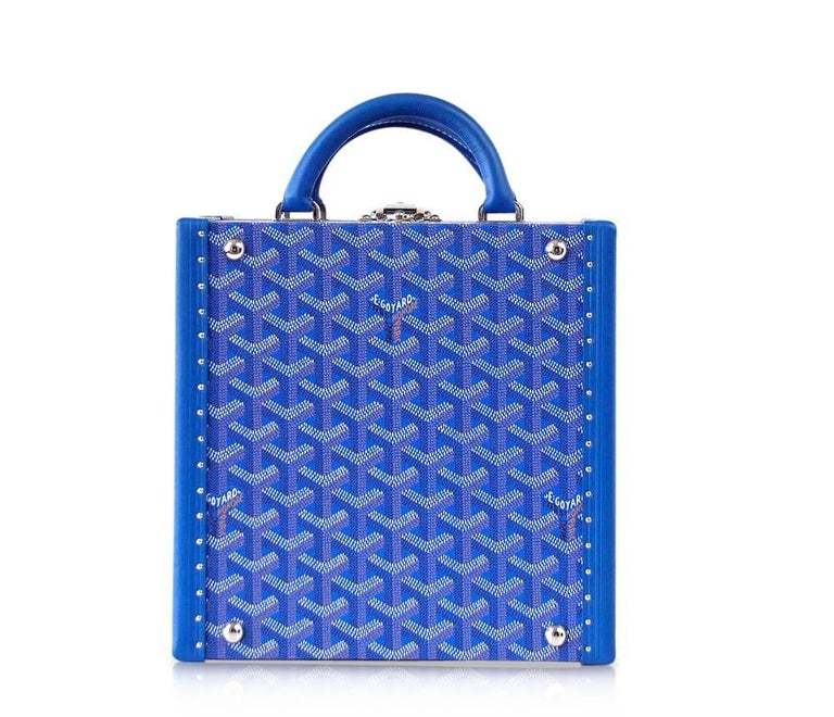 Blue Goyard Doggy Limited Edition Travel Trunk with Palladium Bowls  For Sale