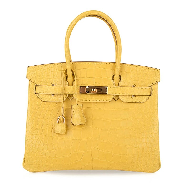 Hermes Birkin 30 Bag Mimosa Matte Alligator Gold Hardware For Sale