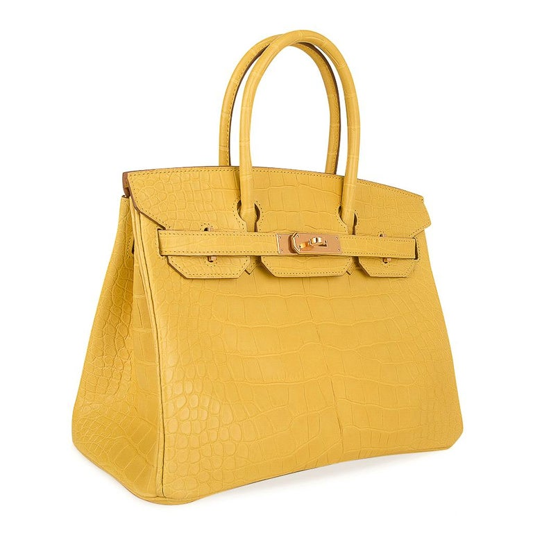 Women's Hermes Birkin 30 Bag Mimosa Matte Alligator Gold Hardware For Sale