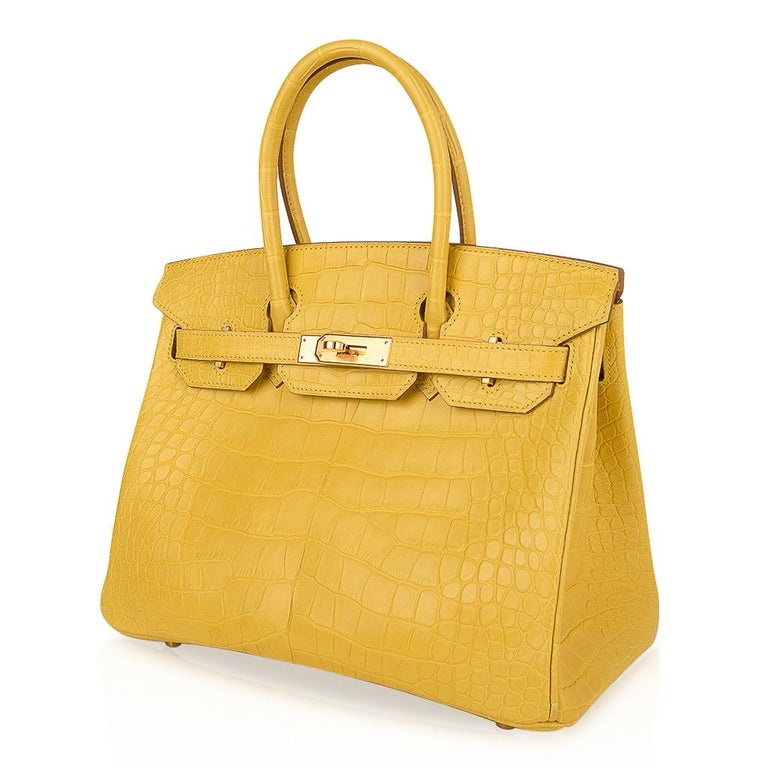 Hermes Birkin 30 Bag Mimosa Matte Alligator Gold Hardware For Sale 2