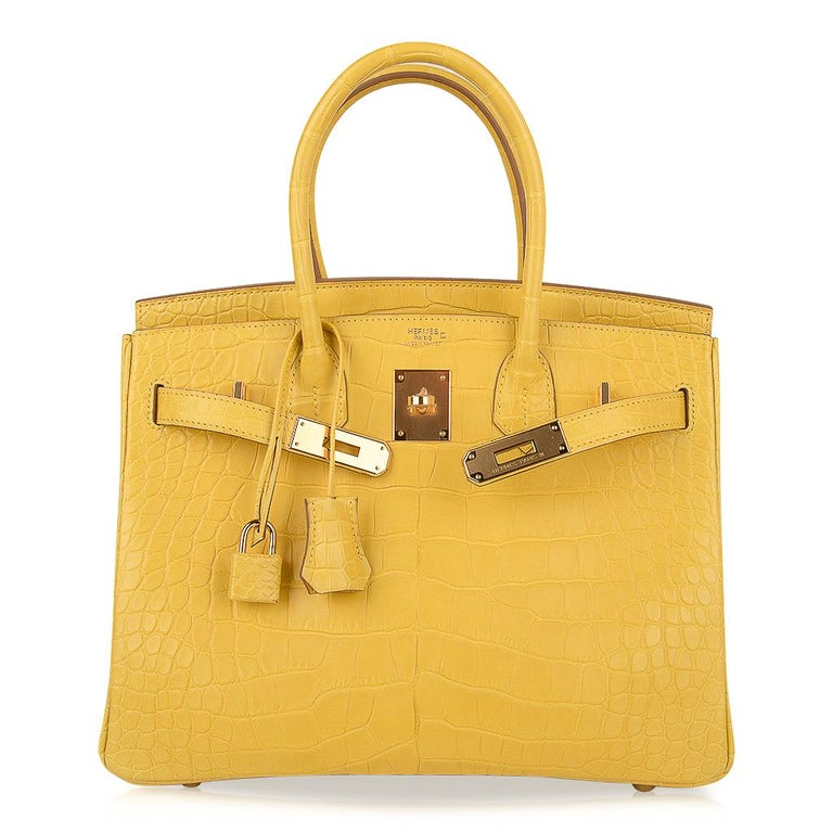 Hermes Birkin 30 Bag Mimosa Matte Alligator Gold Hardware For Sale 3