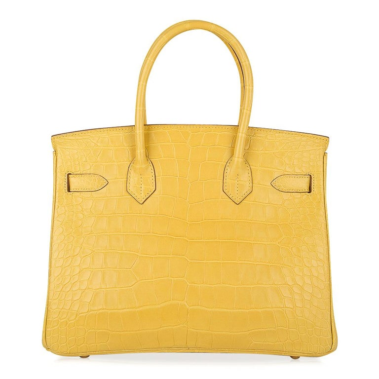 Hermes Birkin 30 Bag Mimosa Matte Alligator Gold Hardware For Sale 4
