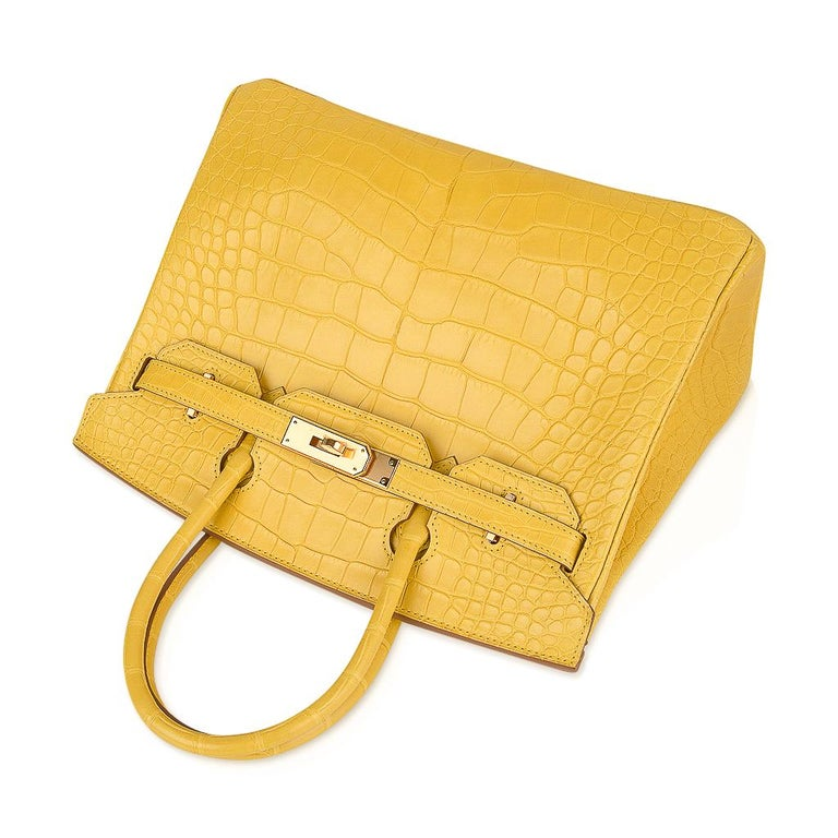 Hermes Birkin 30 Bag Mimosa Matte Alligator Gold Hardware For Sale 1