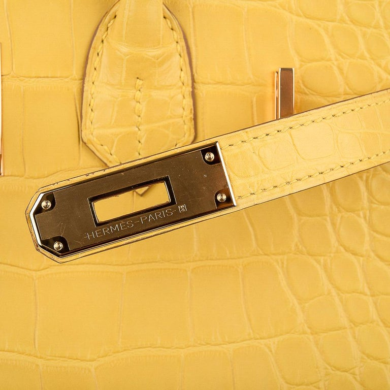 Guaranteed authentic limited edition Hermes Birkin 30 Matte Alligator bag featured in Mimosa - a clear sunny yellow. Lush with Gold Hardware. Comes with the lock and keys in the clochette, sleepers, raincoat and signature Hermes box.  NEW or NEVER