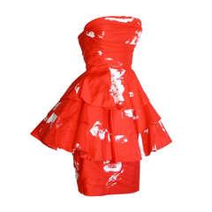 Vintage Barboglio Two Piece Peplum Red Dress Set