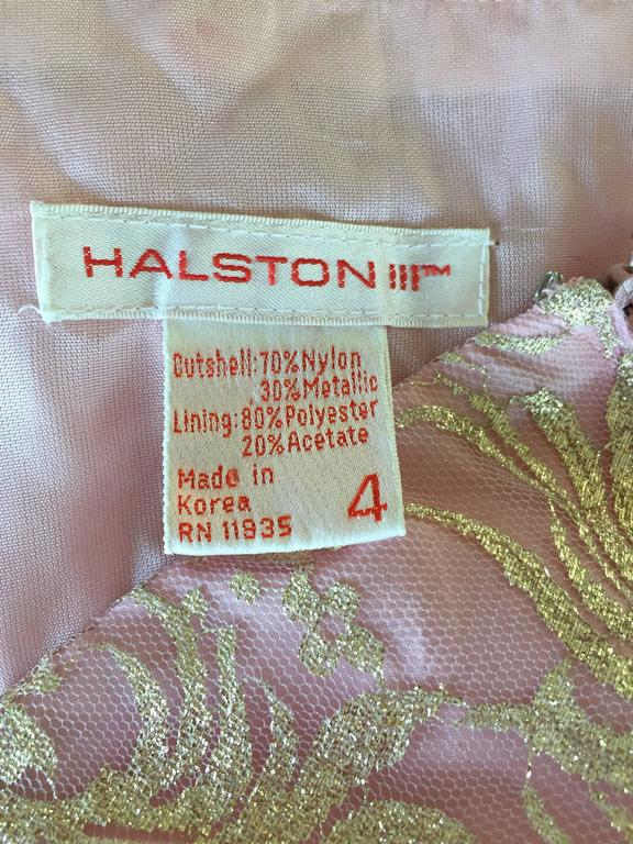 Vintage Halston Pink and Gold Metallic Lace Strapless 1980s 80s Cocktail Dress  For Sale 5