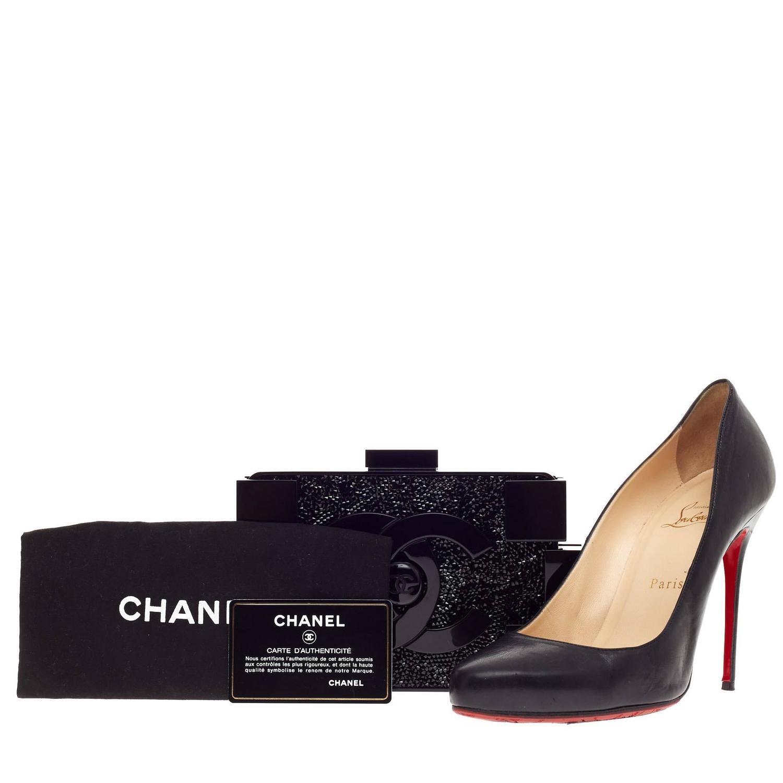 Chanel black crystals lego clutch