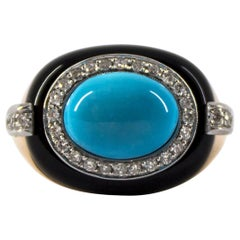 Art Deco 0.40 Carat White Diamond Turquoise Onyx Yellow Gold Cocktail Ring