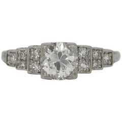 Art Deco 1.10 Carat Old European Diamond Platinum Engagement Ring GIA Certified