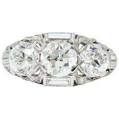 Art Deco 3.75 Carat Diamond Platinum Three-Stone Band Ring GIA