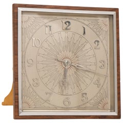 Art Deco 8 Day Clock with Engraved Chrome Face and Walnut Frame