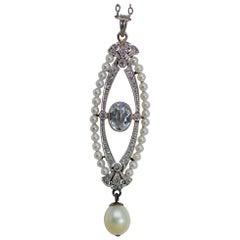 Art Deco Aquamarine, Pearl, and Diamond Platinum Pendant