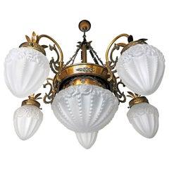 Art Deco Art Nouveau Gold and Bronze Color, Glass Degué Style Chandelier