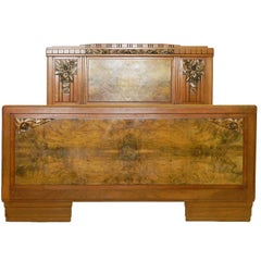 Art Deco Bed Antique French attributed to Sue et Mare carved walnut c1930
