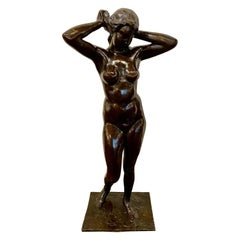 Art Deco Bronze Female Statue by Belgian Artist M. D'Haveloose