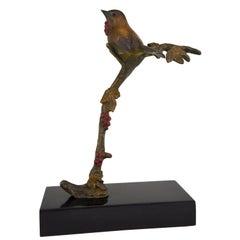Art Deco Bronze Sculpture Bird on a Branch, Irénée Rochard, 1930