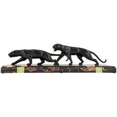 Art Deco Bronze Sculpture of Two Panthers Dominique Jean Baptiste Hugues