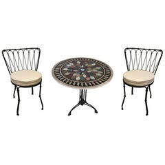 Art Deco Cast Iron Base Table with Pietra Dura Specimen Top with 4 Iron Chairs